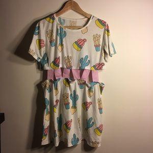 Cactus Print Cut-out Dress (Lazy Oaf Replica)